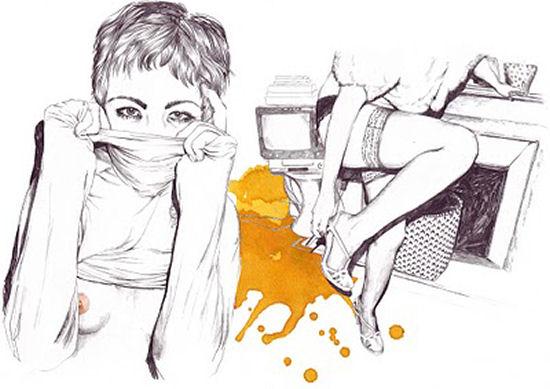 Pencil and watercolor drawings of Norwegian freelance illustrator Esra Røise