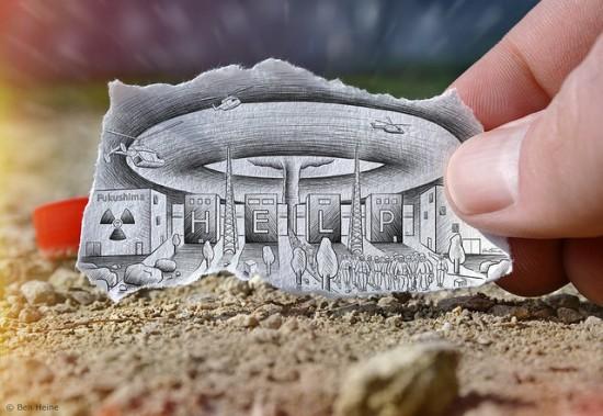 Imagination vs reality, drawing vs photography, pencil vs camera by Ben Heine - Fukushima nuclear plant