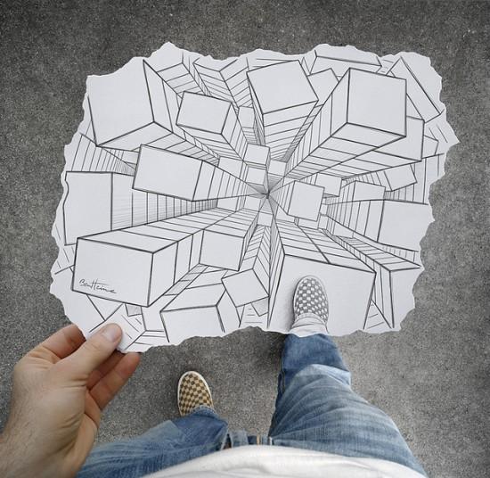 Imagination vs reality, drawing vs photography, pencil vs camera by Ben Heine