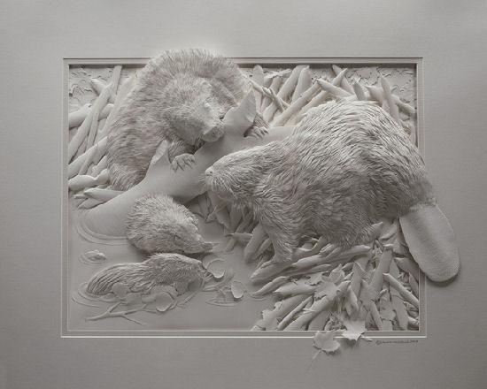 Super cute animals and birds, paper sculptures by Calvin Nicholls