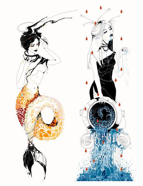 Beautiful and modern vision of zodiac signs illustrations by Yana Moskaluk