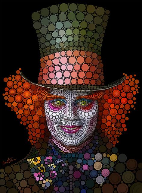 Ben Heine, fantastic artworks - Johnny Depp as seen in Tim Burton's movie Alice in Wonderland
