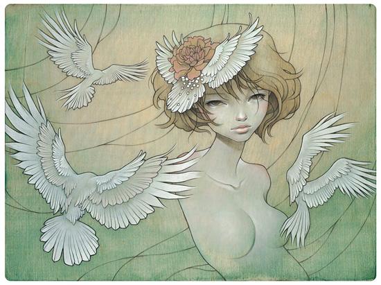 Superbe paintings on wood by Audrey Kawasaki