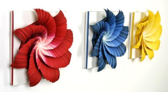 Spectral color in paper sculpture by Jen Stark