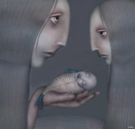 Hypnotic strange creatures in a surreal world, photomanipulation by Svetlana Bobrova