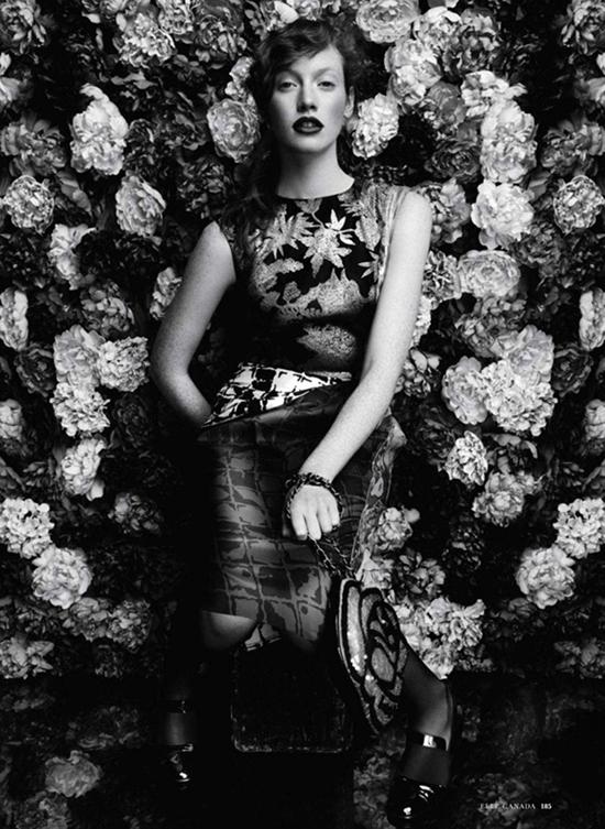 Chantal Stafford-Abbott in Floral Fantasy for Elle Canada, September 2011