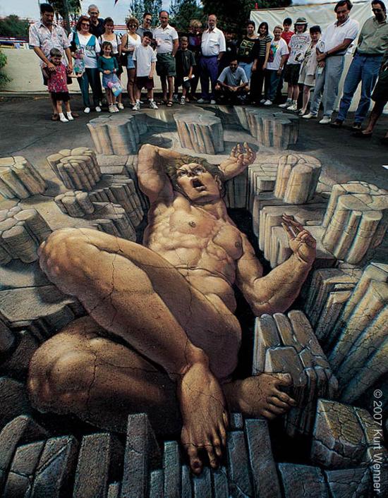 3D pavement art by Kurt Wenner