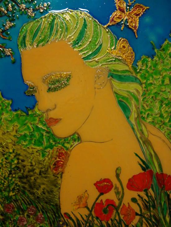 Seasons, painting on glass
