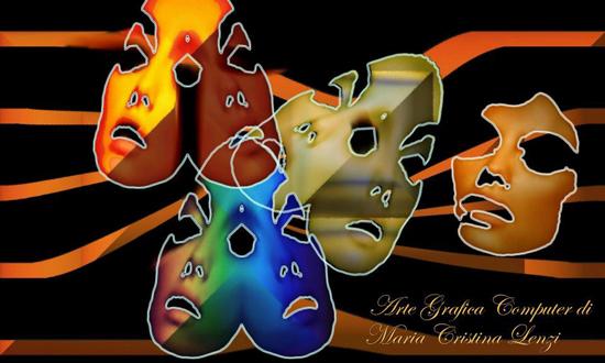 Portraits and masks, digital art by Maria Cristina Lenzi