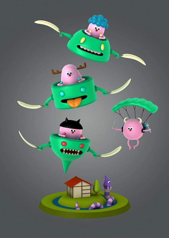 Yōkai characters by Cesc Grané