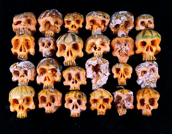 Carved fruit and veggie skulls by Dimitri Tsykalov