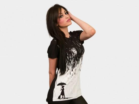 Pixel Rain tee t-shirt design by Steven Toang