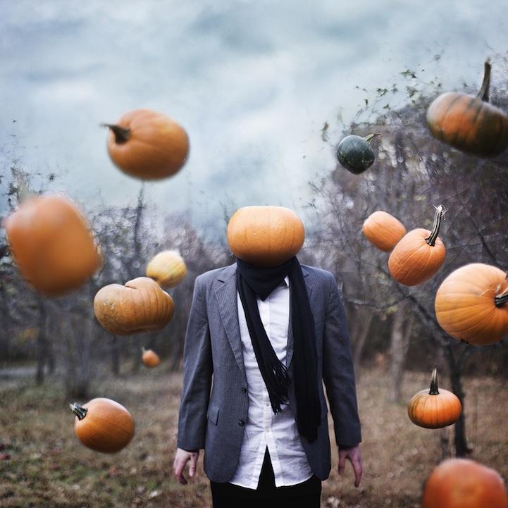 Bryan Durushia, mysterious surreal portraits of faceless men