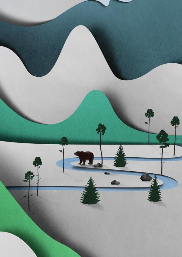Vertical Papercut Landscape by Eiko Ojala