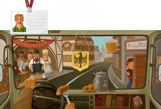 Around the world for twelve months, illustration by Andrey Gordeev