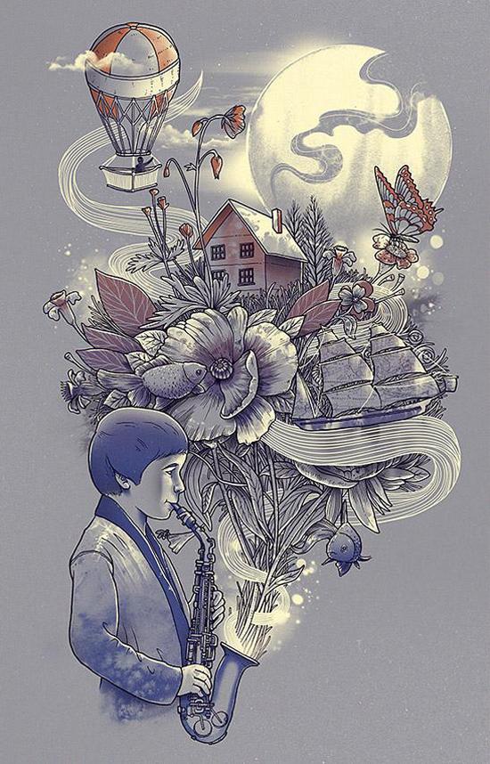 T-shirt illustrations by Jerry a.k.a dzeri29