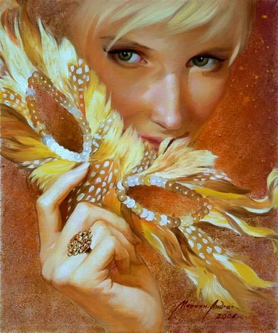 Golden series of women's portraits by Andrei Markin