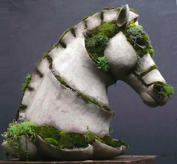terraforms garden sculpture, pieces, hand-built, ferro cement shells, earth, plants, custom specifications, Robert Cannon, terraform sculpture