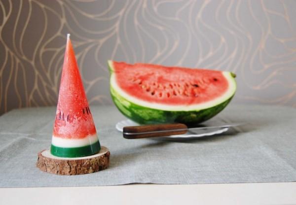 Watermelon slices that burn bright