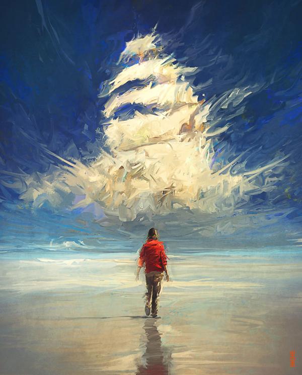 Enchanted Sky, digital art by Rhads