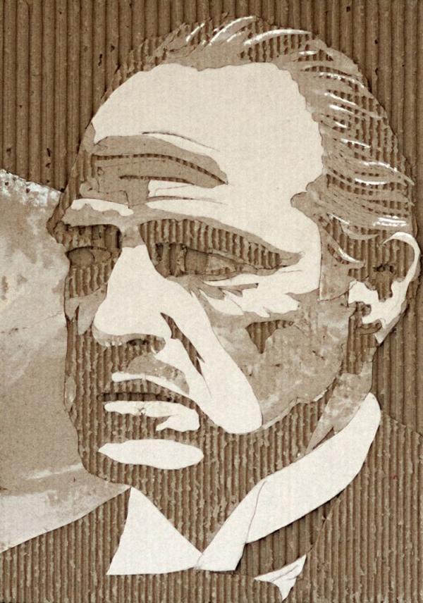 Hollywood cardboard portraits by Giles Oldershaw