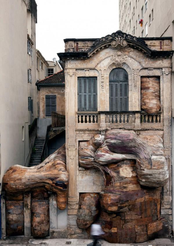 Melt, sculpture & installation by Henrique Oliveira