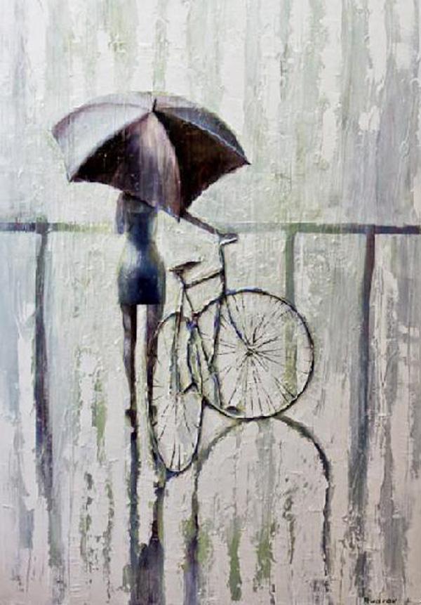 Walking in the rain, paintings by Igor Mudrov