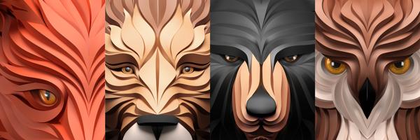 Predators, 3d interpretation of vector graphics by Maxim Shkret