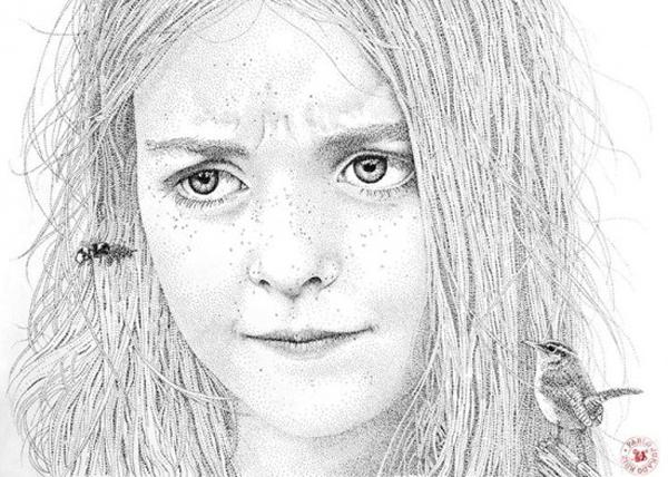 Ultra-realistic portraits in black ink dots by Pablo Jurado Ruiz