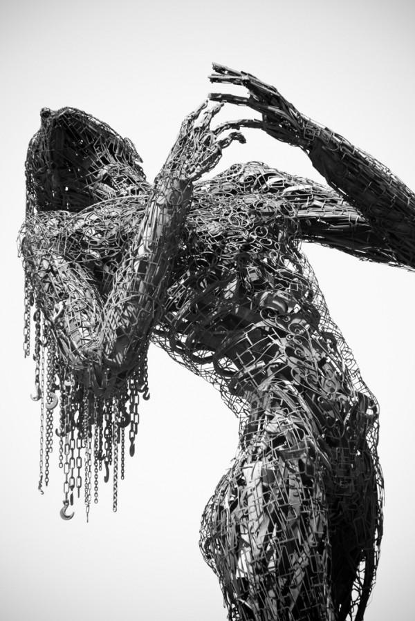 Emotionally charged scrap metal sculpture by Karen Cusolito