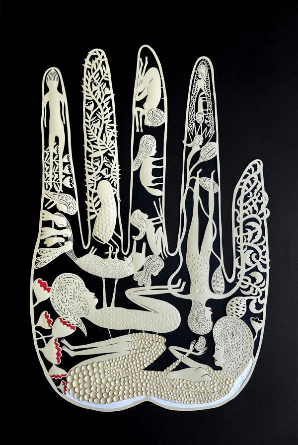 Cut paper sculptures and illustrations by Elsa Mora