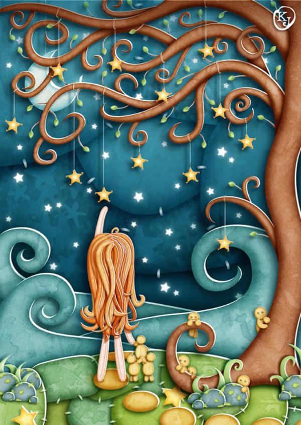 Amazing paper cut-out style, illustrations by Kimberly Jolanda