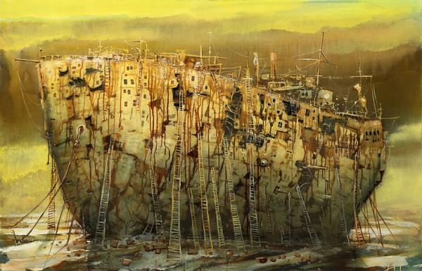 Otherworldly vehicles, paintings by Modestas Malinauskas