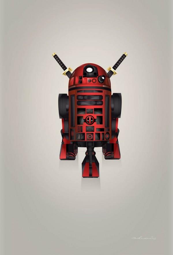 Starwars droid R2-D2 superheroes, illustration by Steve Berrington