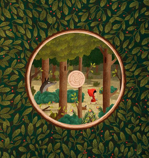 Little red hood - Le Petit Chaperon rouge, illustration by Emilia Dziubak