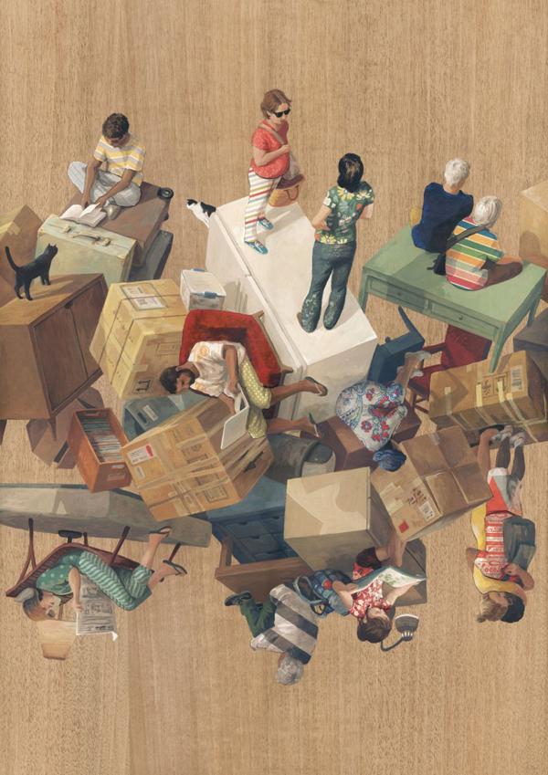 Un-gravity constructions, paintings by Cinta Vidal