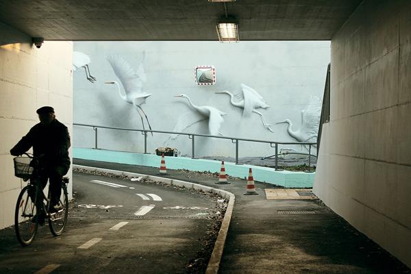 Ethereal bird murals, street art by Eron