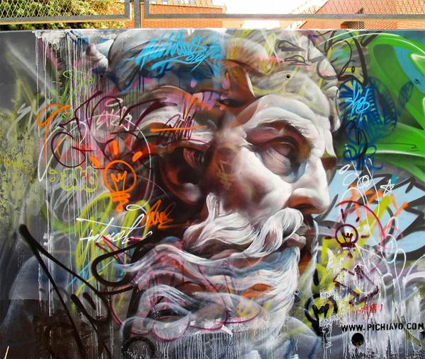 Greek Gods, impressive graffiti by Pichi & Avo