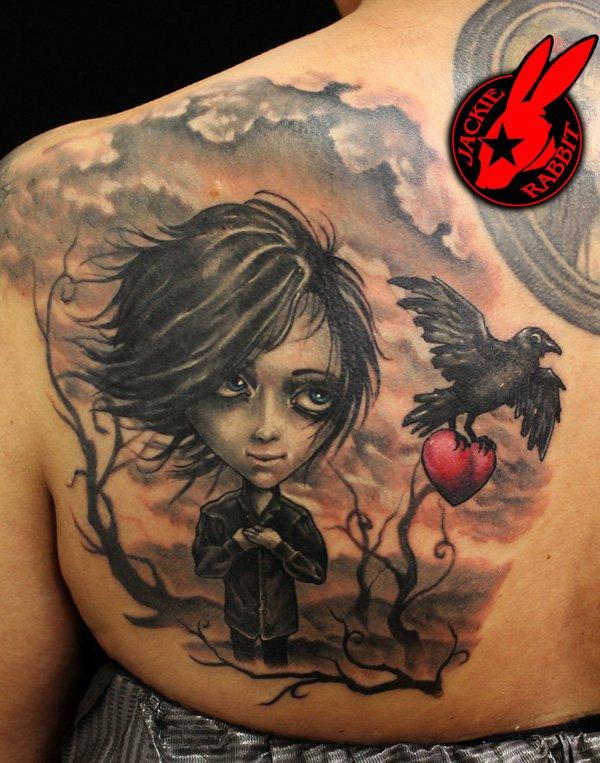 Mysterious raven tattoos