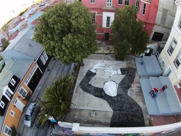 On the Roof – aerial street art by Ella & Pitr