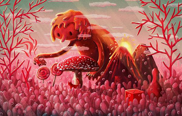 The chameleon cat - Kot kameleon, illustration by Emilia Dziubak