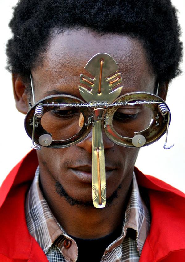 Give trash a second chance, sculptural eyewear by Cyrus Kabiru
