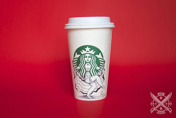 The secret life of the Starbucks Siren, illustration by Abe Green