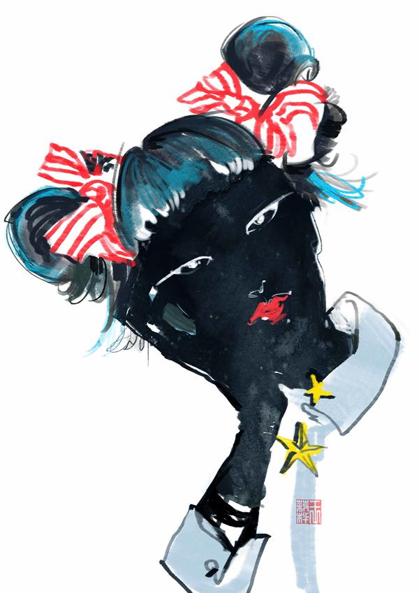 Harajuku Girls, fashion illustration by Celine Wong