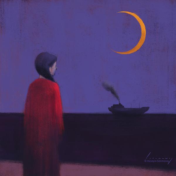 When the night falls, digital painting by Hüseyin Sönmezay
