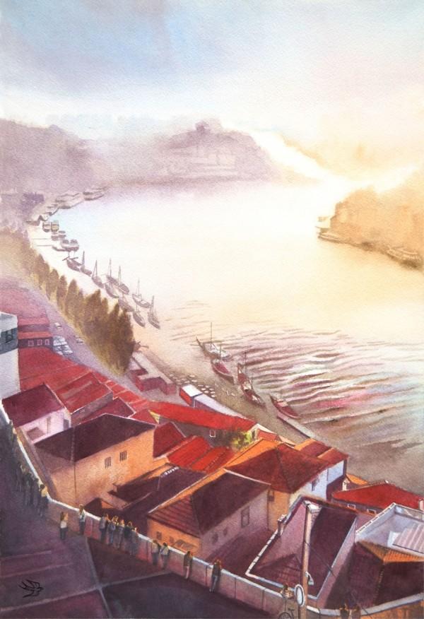 Portuguese dream in beautiful architectural watercolors by Viktoria Kravchenko