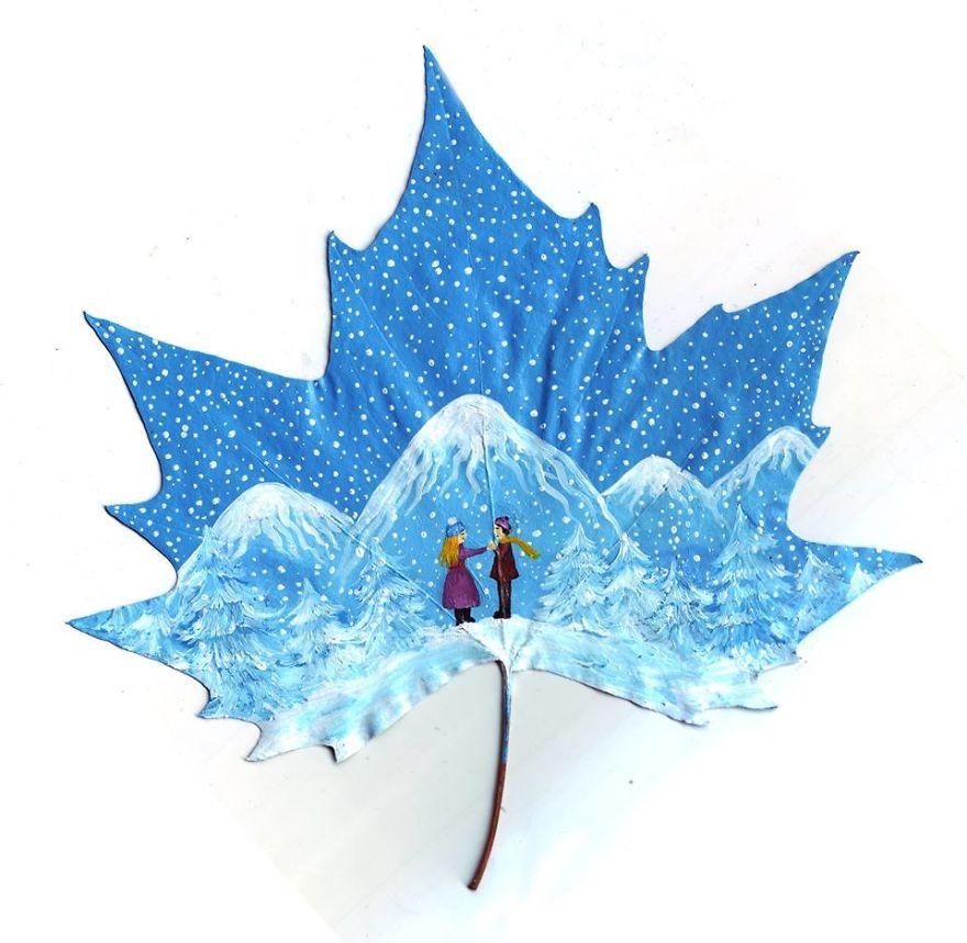 24 Fallen Leaves, magical art by Kristi Botkoveli (Nancy Woland) and Beka Zaridze