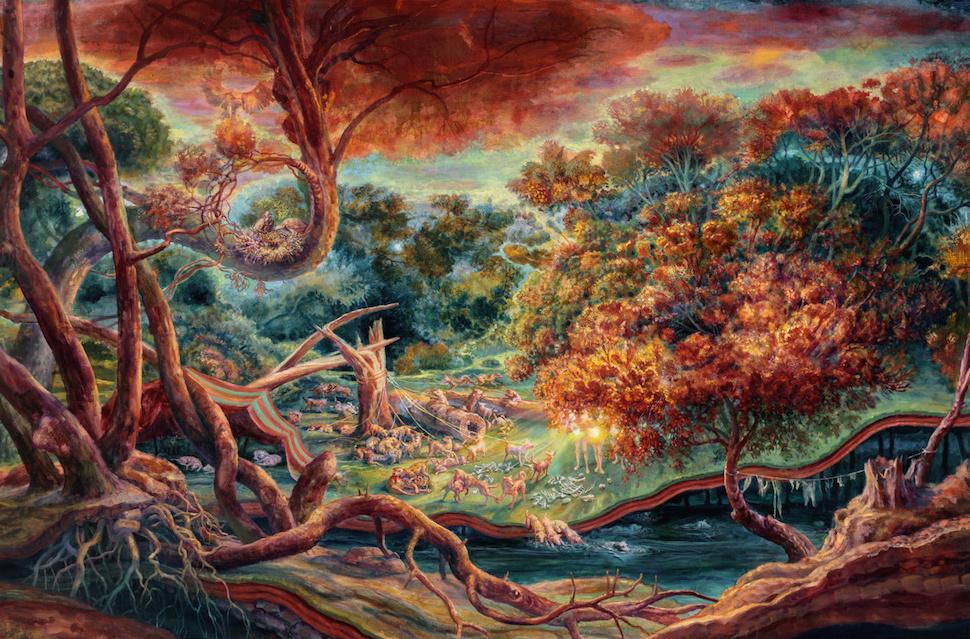 Bright environmental paintings by Julie Heffernan