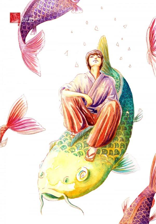 Child Heroes Zine - KOI STAR, illustration by Kiv Bui