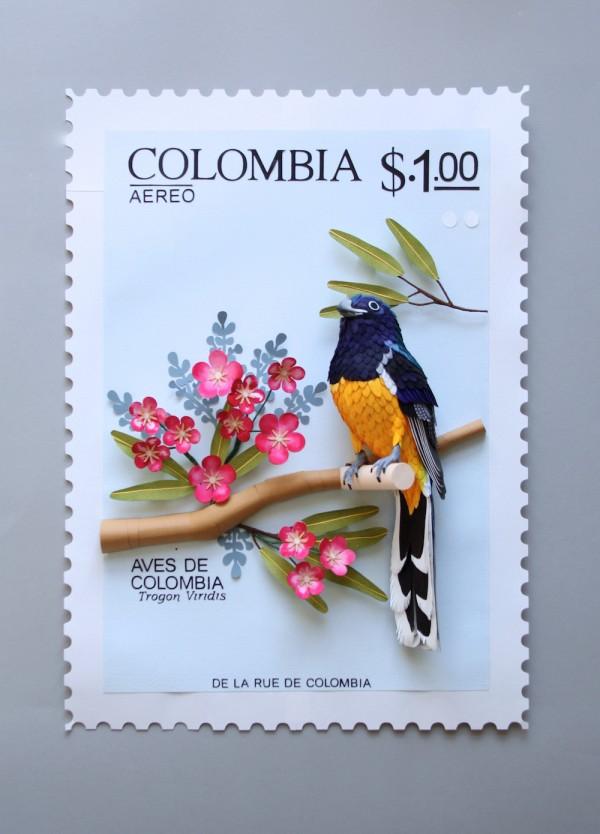 Paper bird stamps by Diana Beltran Herrera